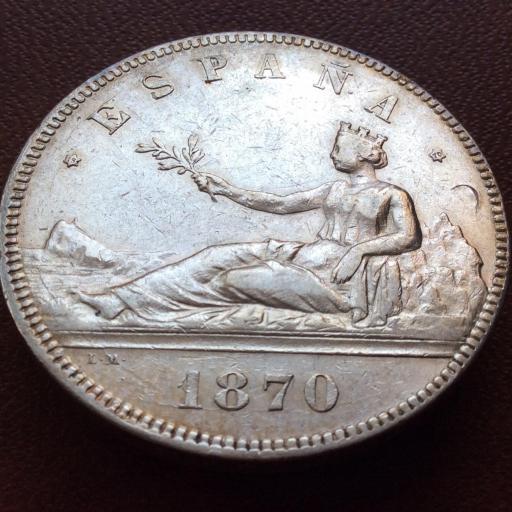 5 PESETAS PLATA 1870 - GOBIERNO PROVISINAL I REPUBLICA