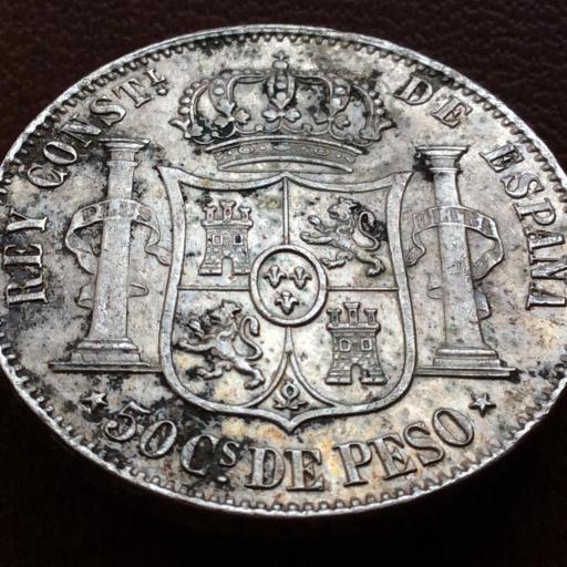 50 CENTAVOS DE PESO 1885 - ALFONSO XII - ISLAS FILIPINAS