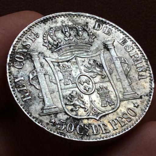 50 CENTAVOS DE PESO 1885 - ALFONSO XII - ISLAS FILIPINAS [2]