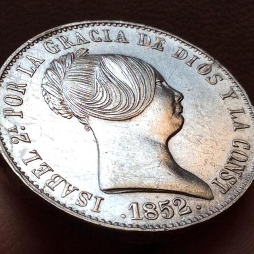 ESPECTACULARES 10 REALES DE PLATA DE 1852 - ISABEL II - MADRID