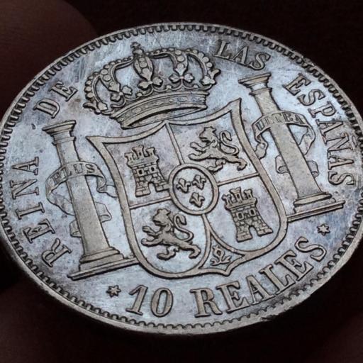 ESPECTACULARES 10 REALES DE PLATA DE 1852 - ISABEL II - MADRID [1]