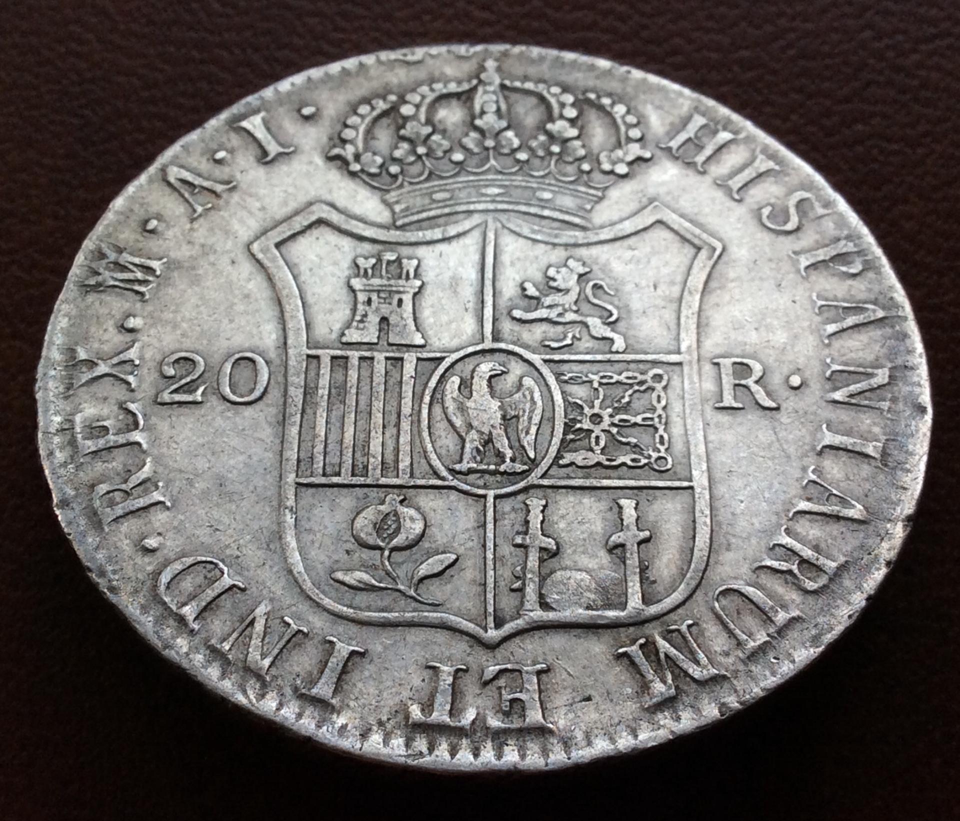 20 REALES PLATA 1810 - JOSÉ I BONAPARTE - OCUPACIÓN NAPOLEONICA - MADRID AI