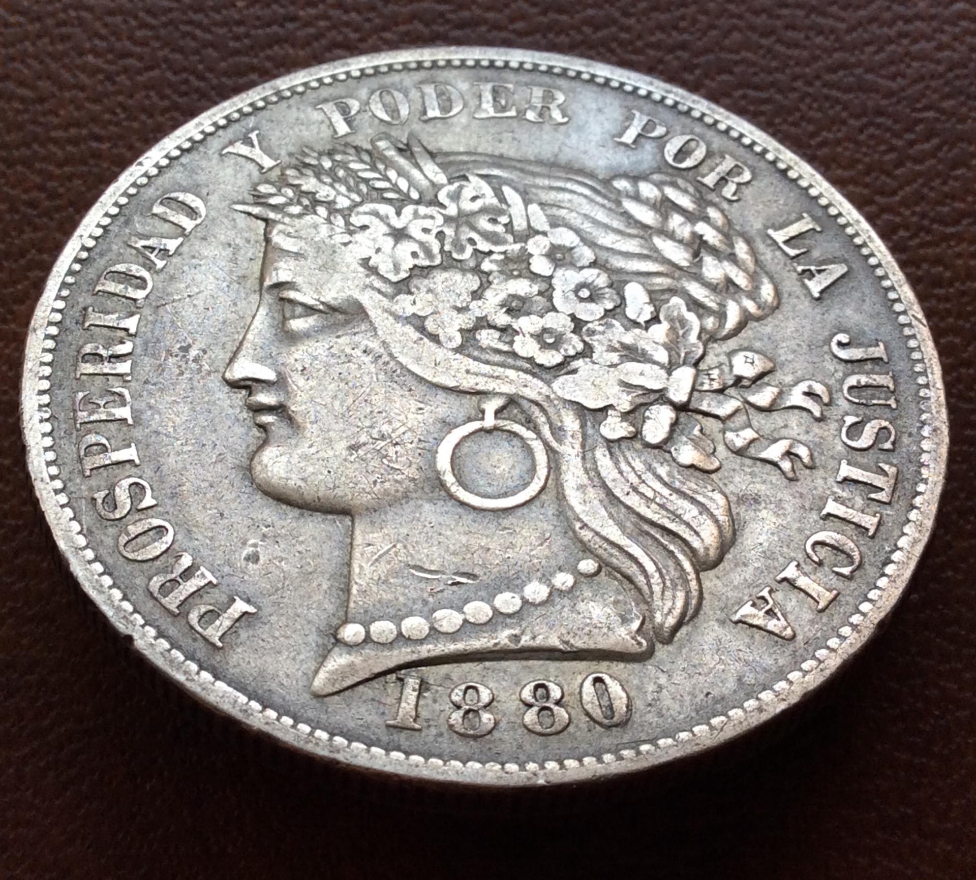 5 PESETAS PLATA 1880 - REPUBLICA PERUANA LIMA - ESCASA