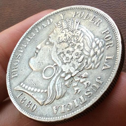 5 PESETAS PLATA 1880 - REPUBLICA PERUANA LIMA - ESCASA [2]