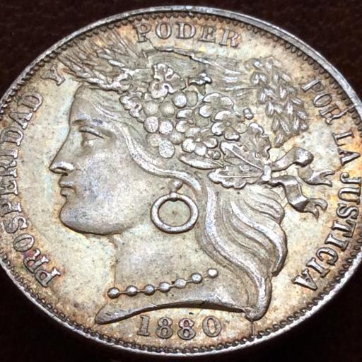 1 PESETA PLATA 1880 - REPUBLICA PERUANA LIMA - ESCASA