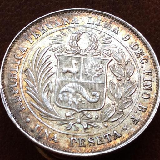 1 PESETA PLATA 1880 - REPUBLICA PERUANA LIMA - ESCASA  [1]