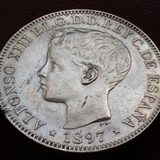 1 PESO DE PLATA DE 1897 - REINADO DE ALFONSO XIII EN FILIPINAS  [1]