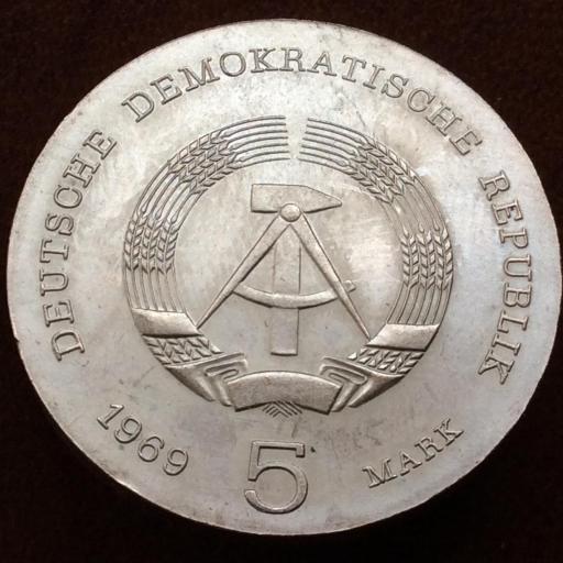 5 MARCOS DE PLATA DE 1969 - REPUBLICA DEMOCRÁTICA ALEMANA - HEINRICH HERTZ  [1]