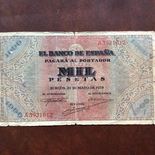 1000 PESETAS 1938 - GUERRA CIVIL ESPAÑOLA - BURGOS