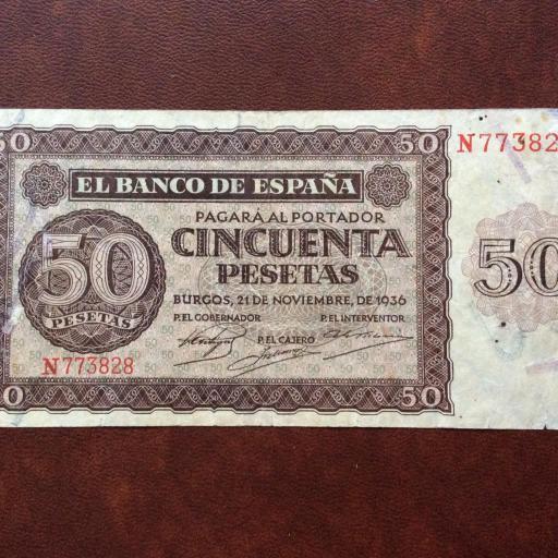 50 PESETAS 1936 - GUERRA CIVIL ESPAÑOLA - BURGOS