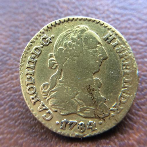 1 ESCUDO DE ORO DE 1784 - REINADO DE CARLOS III - SEVILLA [2]