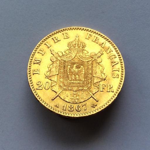 20 FRANCOS DE ORO DE 1867 - NAPOLEON III - FRANCIA