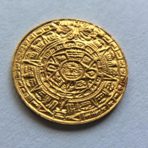 MUY RARA MONEDA MEXICANA DE ORO - CUAUHTÉMOC - CALENDARIO AZTECA  [1]