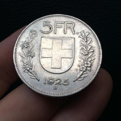 5 FRANCOS PLATA 1925 - SUIZA - PRECIOSA PIEZA  [1]