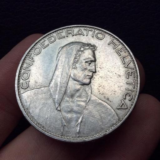 5 FRANCOS PLATA 1925 - SUIZA - PRECIOSA PIEZA