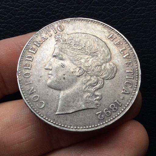 5 FRANCOS PLATA 1892 -  SUIZA - GRAN CONSERVACIÓN - MONEDA ESCASA  [1]