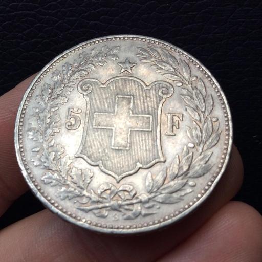 5 FRANCOS PLATA 1892 -  SUIZA - GRAN CONSERVACIÓN - MONEDA ESCASA