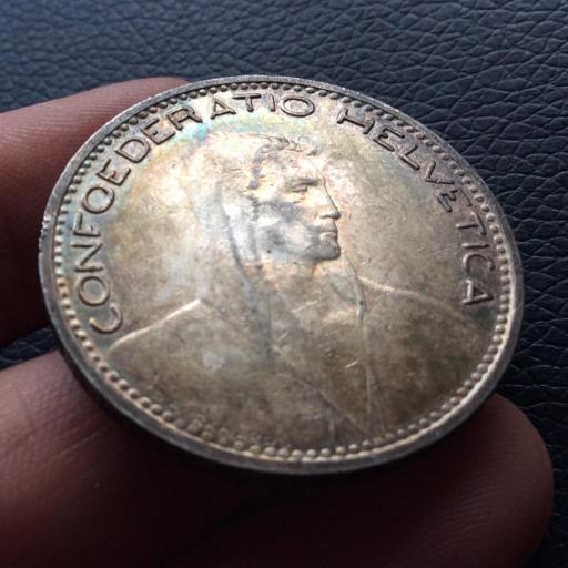 5 FRANCOS PLATA 1923 - CONFEDERACION SUIZA - PRECIOSA PATINA  [2]