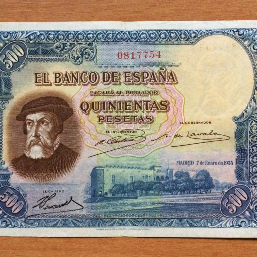 ESCASO BILLETE 500 PESETAS 1935 - II REPUBLICA - HERNÁN CORTÉS