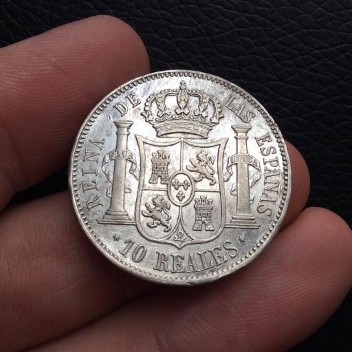 ESPECTACULARES 10 REALES DE PLATA DE 1852 - ISABEL II - MADRID [3]
