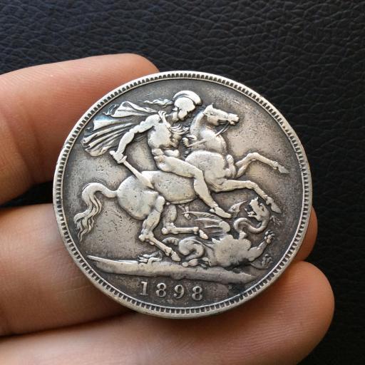 1 CORONA PLATA 1898 - REINA VICTORIA - INGLATERRA
