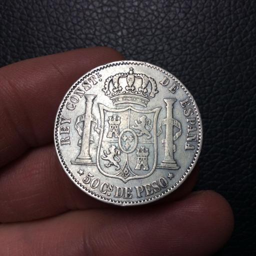 ESCASOS 50 CENTAVOS DE PESO 1884 - FILIPINAS  [1]