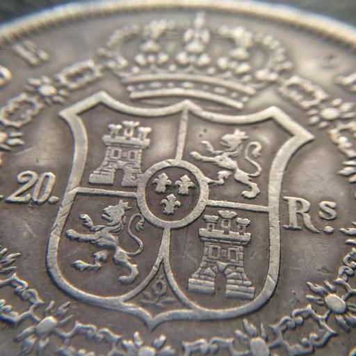 20 REALES 1849 - ISABEL II - MADRID - PRIMER MOÑO - ESCASA  [3]