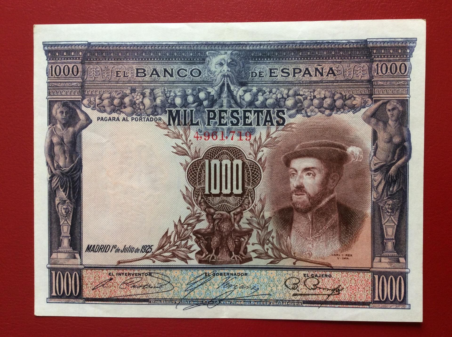 1000 PESETAS 1925 - CARLOS I - EXCELENTE CONSERVACIÓN