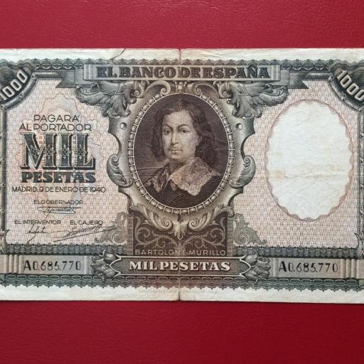 1000 PESETAS ENERO 1940 - BARTOLOMÉ MURILLO - ESCASO