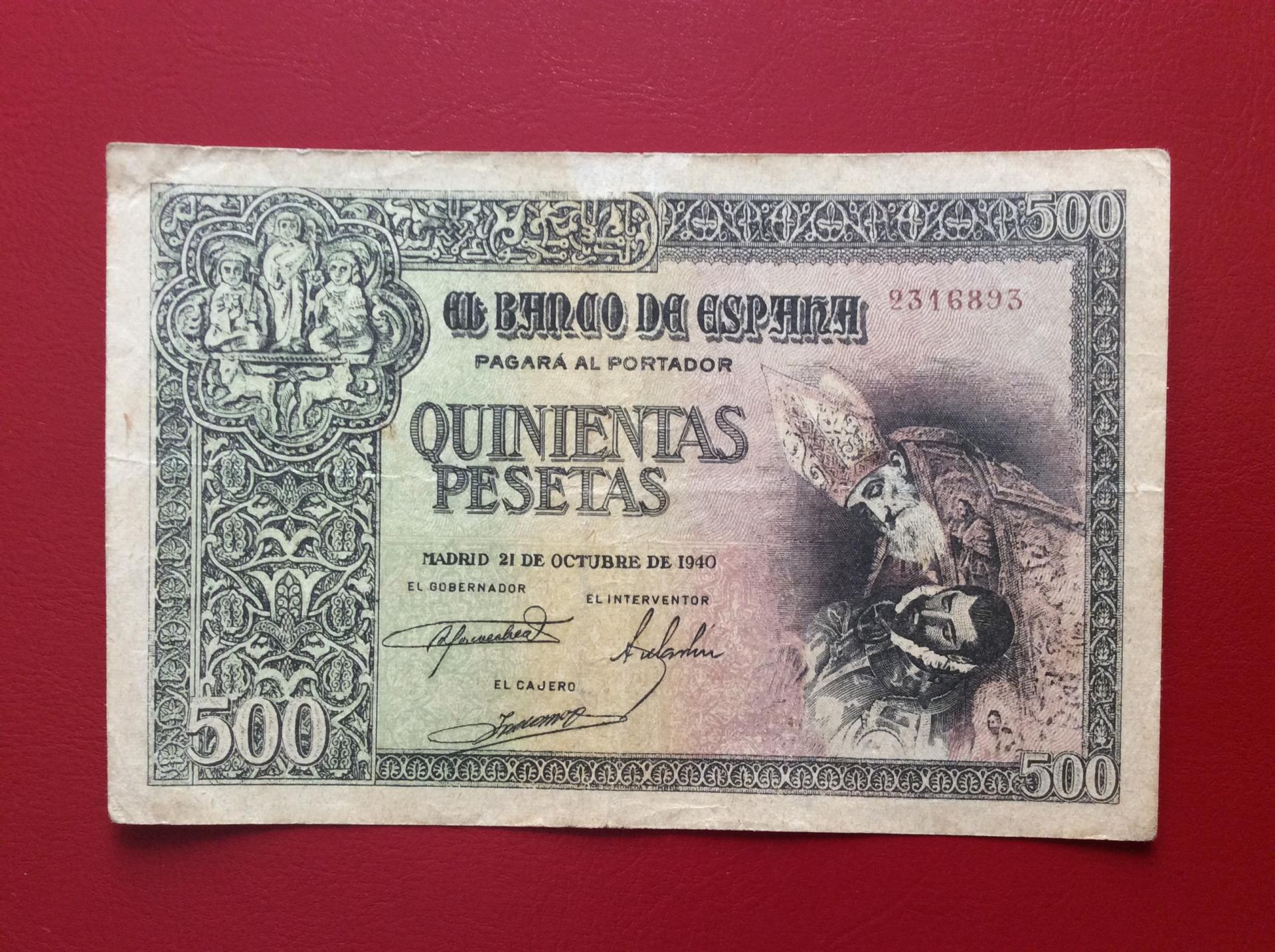 500 PESETAS OCTUBRE 1940 - ENTIERRO DEL CONDE DE ORGAZ - ESCASO
