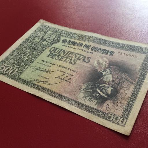 500 PESETAS OCTUBRE 1940 - ENTIERRO DEL CONDE DE ORGAZ - ESCASO  [2]