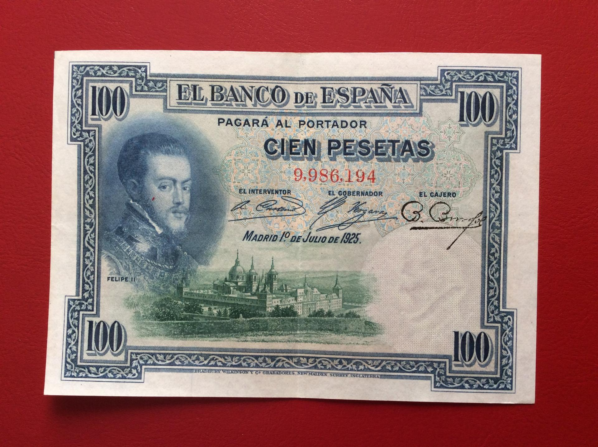100 PESETAS 1925 - SIN SERIE - FELIPE II - EXCELENTE CONSERVACIÓN - MUY ESCASO ASÍ