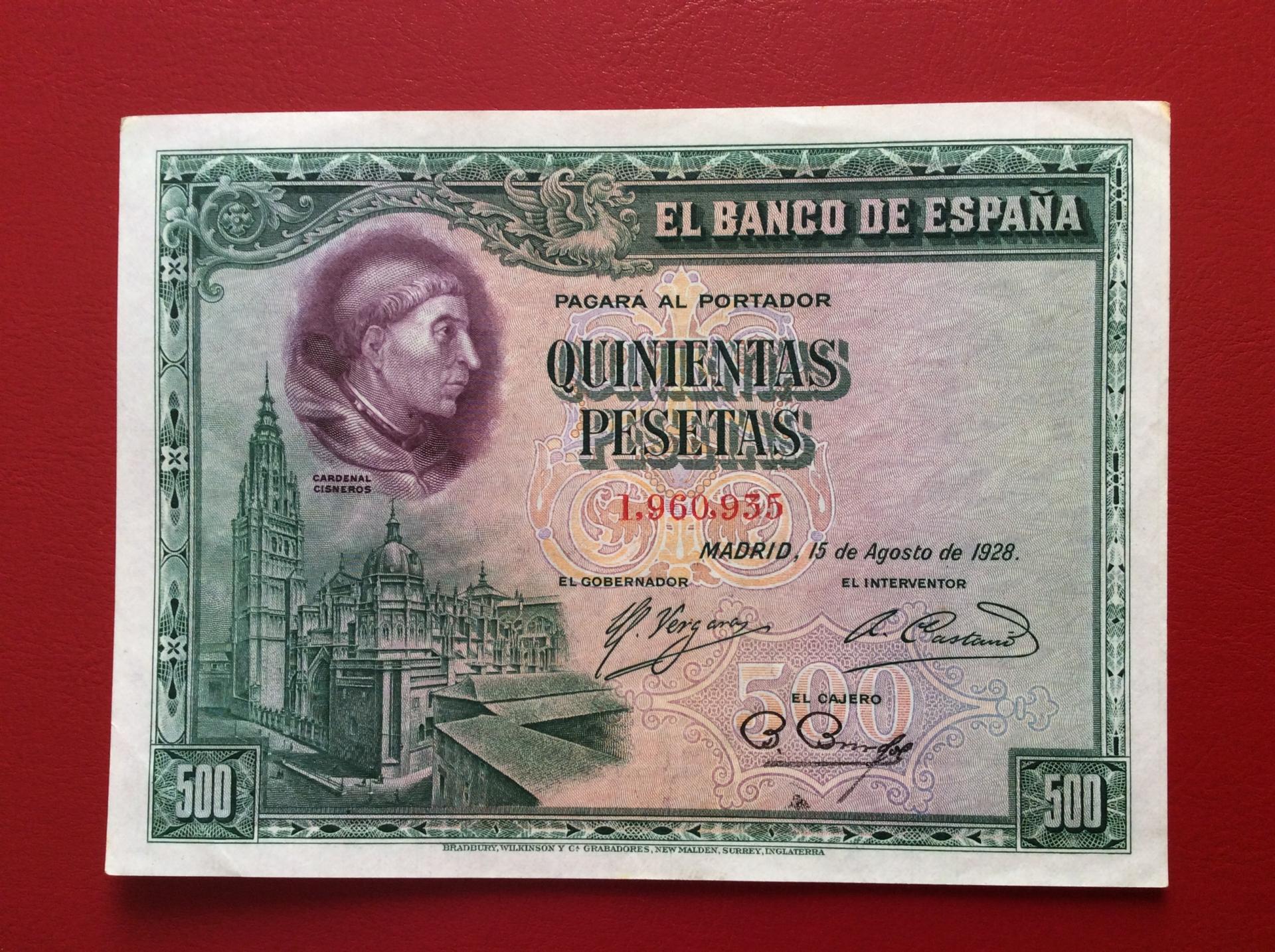 500 PESETAS 1928 - CARDENAL CISNEROS - SIN CIRCULAR-