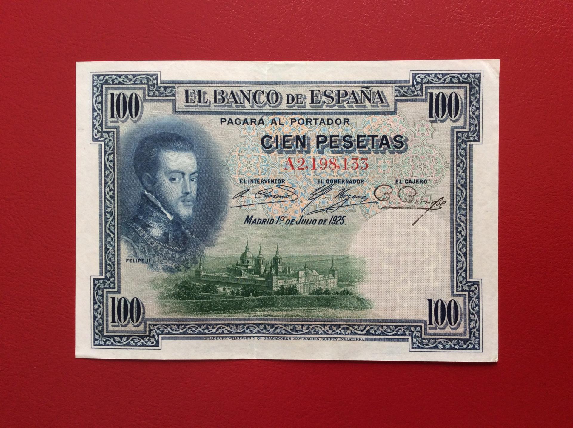 100 PESETAS 1925 - SERIE A - FELIPE II - EXCELENTE CONSERVACIÓN