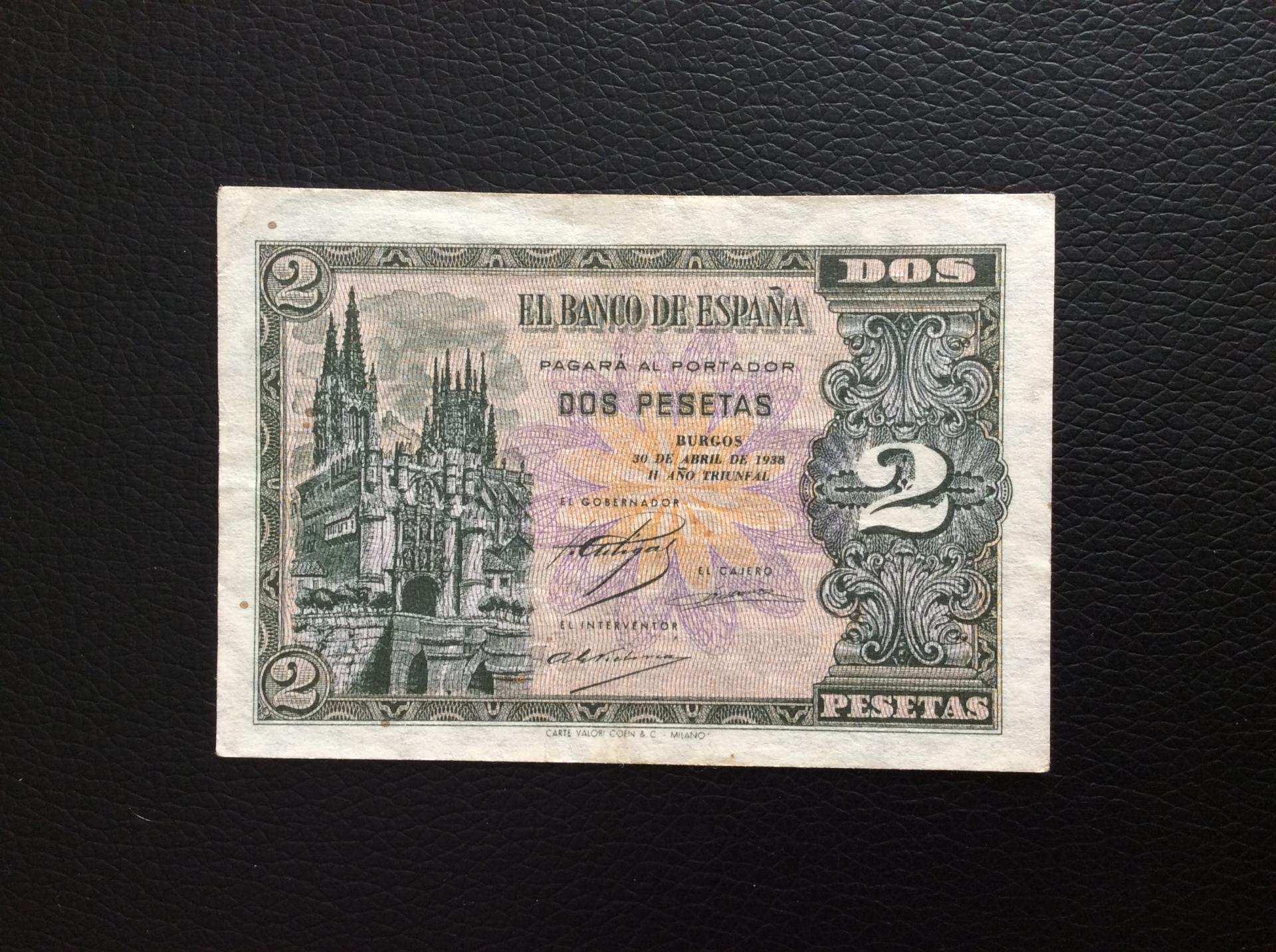 2 PESETAS ABRIL 1938 - BURGOS - MUY BUENA CONSERVACIÓN