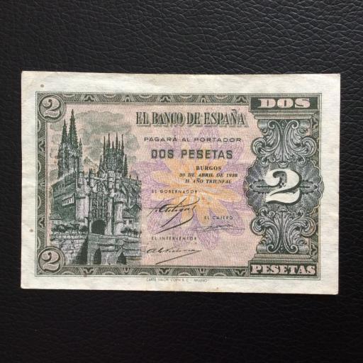 2 PESETAS ABRIL 1938 - BURGOS - MUY BUENA CONSERVACIÓN  [0]