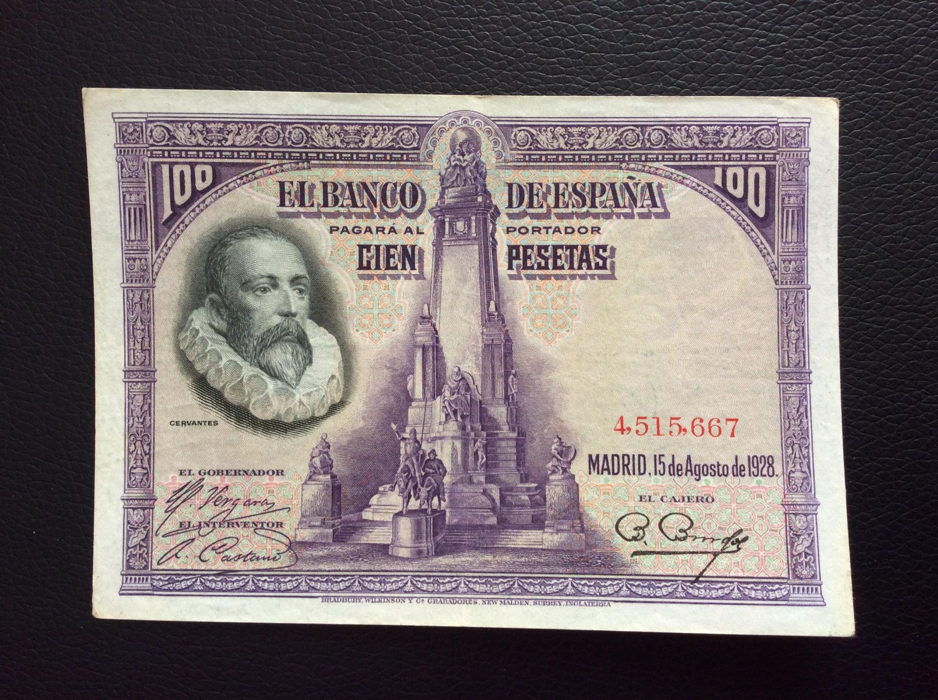 100 PESETAS 1928 - SIN SERIE - MIGUEL DE CERVANTES