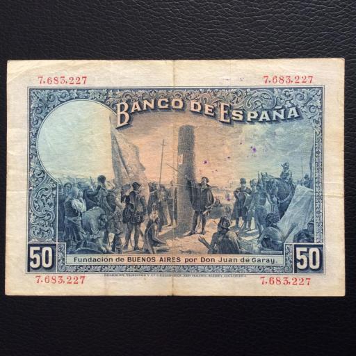 50 PESETAS 1927 - ALFONSO XIII - RESELLADO POSTERIORMENTE CON SELLO DE LA REPUBLICA  [1]