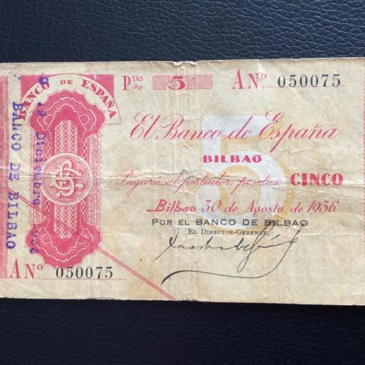 5 PESETAS 1936 - BANCO DE BILBAO - GUERRA CIVIL ESPAÑOLA