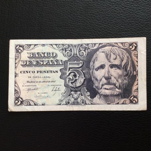 5 PESETAS 1947 - SIN SERIE - SENECA