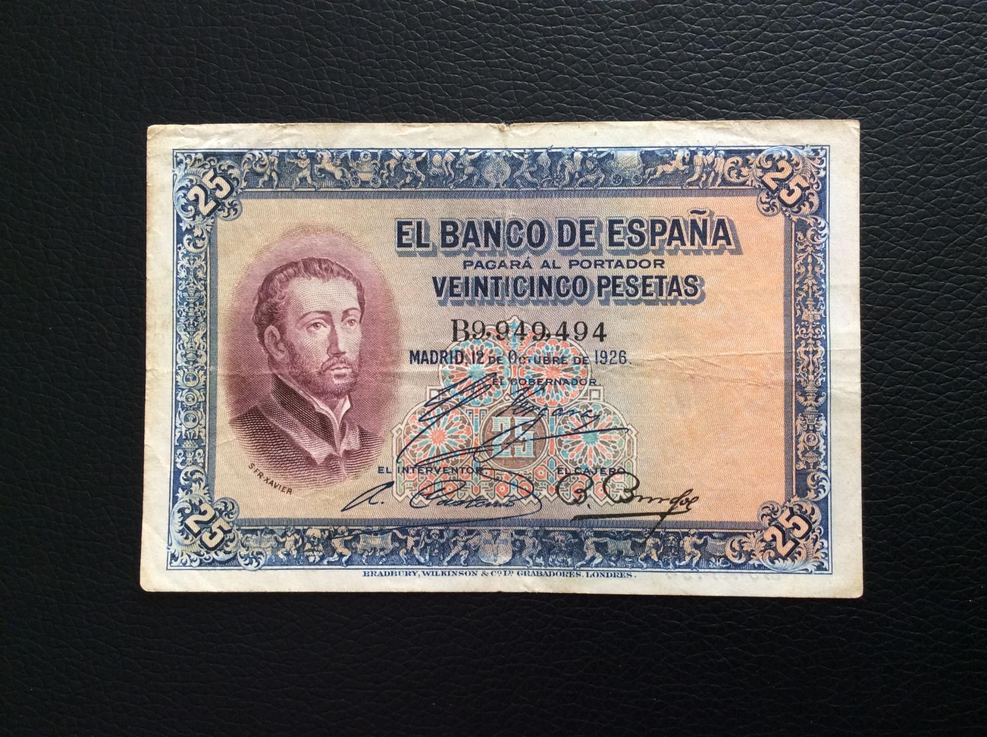 25 PESETAS 1926 - NÚMERO MUY CURIOSO - SAN JAVIER