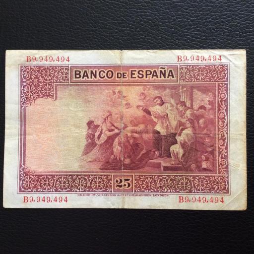 25 PESETAS 1926 - NÚMERO MUY CURIOSO - SAN JAVIER  [1]