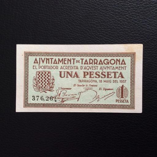 1 PESETA 1937 - AJUNTAMENT DE TARRAGONA - PLANCHA SIN CIRCULAR  [0]