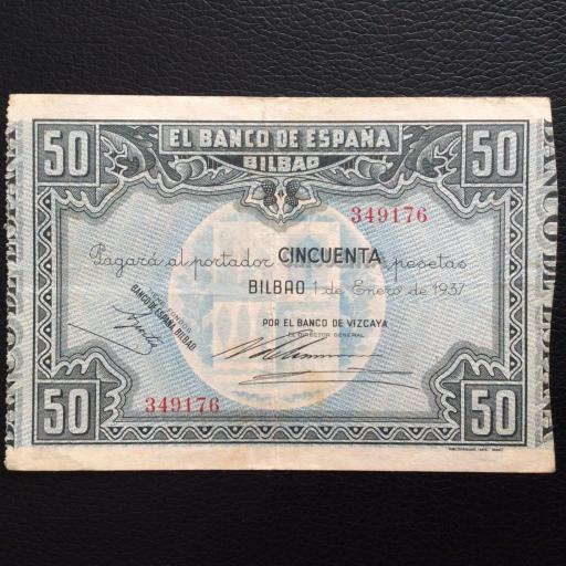 50 PESETAS 1937 - BANCO DE ESPAÑA BILBAO - GUERRA CIVIL ESPAÑOLA