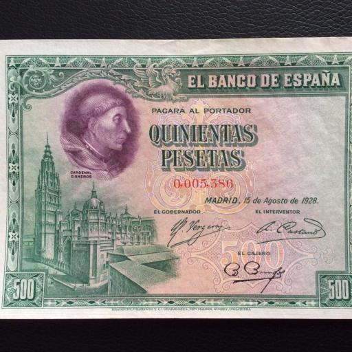 500 PESETAS 1928 - CARDENAL CISNEROS - No MERO DE SERIE MUY BAJO [0]