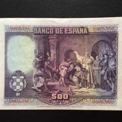 500 PESETAS 1928 - CARDENAL CISNEROS - No MERO DE SERIE MUY BAJO [1]