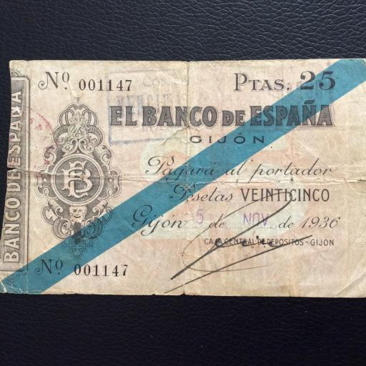 25 PESETAS 1936 - BANCO DE ESPAÑA GIJÓN