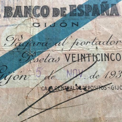 25 PESETAS 1936 - BANCO DE ESPAÑA GIJÓN  [2]