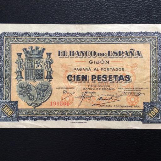 100 PESETAS 1937 - BANCO DE ESPAÑA GIJÓN