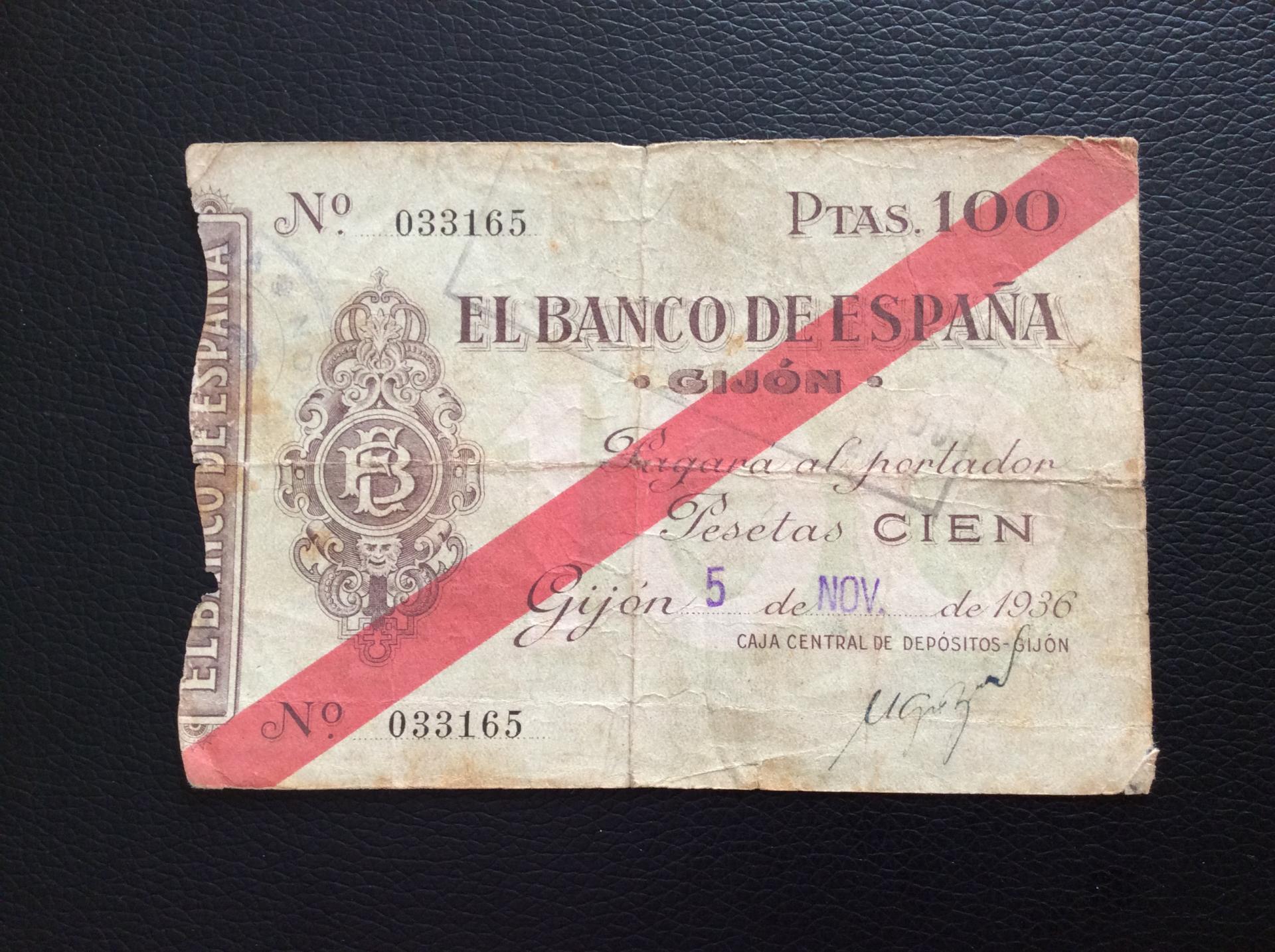 100 PESETAS 1936 - BANCO DE ESPAÑA GIJÓN